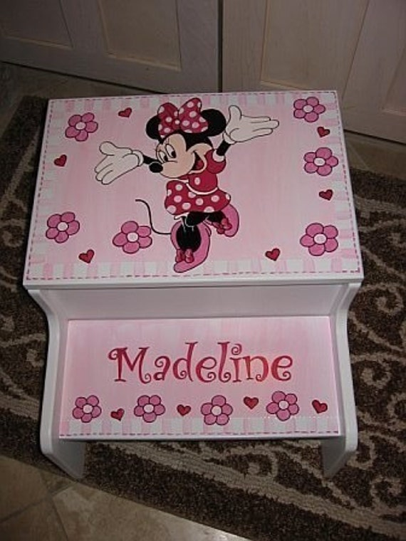Personalized Storage Step Stool Minnie By Andrewandelladesigns