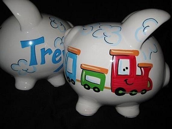 Personalized piggy bank happy choo choo train sale small piggy - Train piggy banks ...
