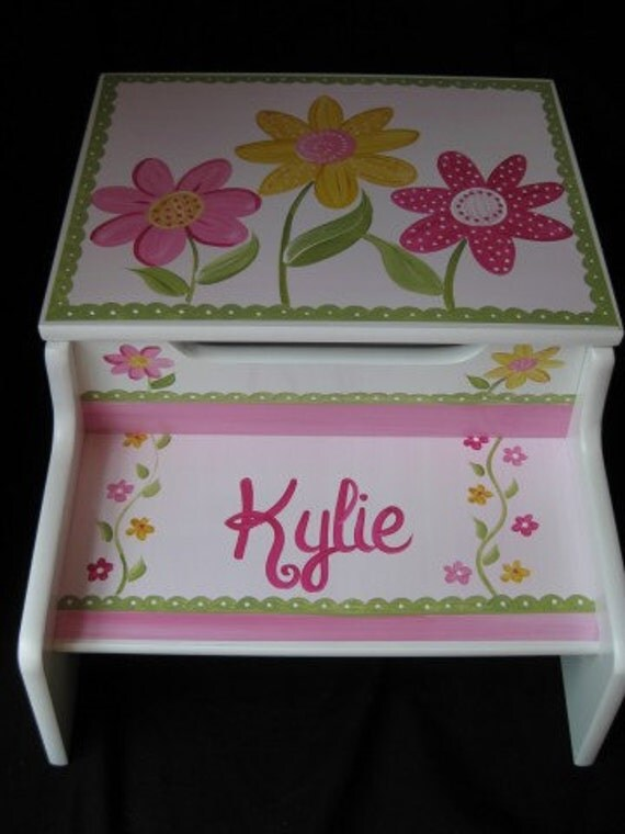 Hand Painted Personalized Storage Step Stool Delicate Daisy
