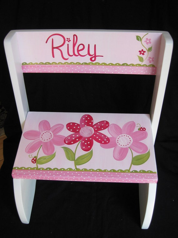 Custom Hand Painted Personalized Chair Flip Step Stool Pink