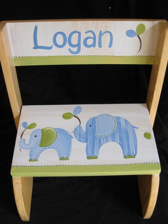 Personalized Chair Step Flip Stool Eli The Elephant