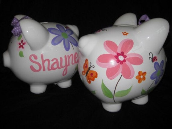 Piggy Bank Hand Painted Personalized Bright Whimsy Flower