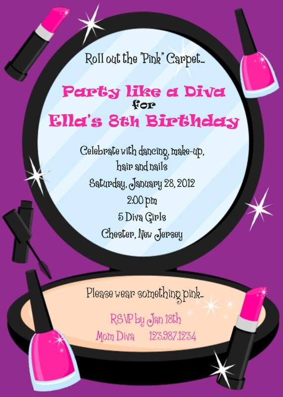 Items similar to diva party makeup invitation custom digital – Diva Party Invitations
