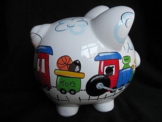 Personalized piggy bank boy train transportation - Train piggy banks ...