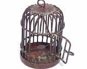 Rusty  Birdcage pendant charm 1pc .... metal .. shop closing sale