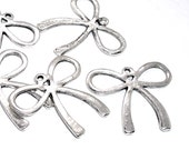 BOW Charms 6pcs ... antique silvertone - shop closing sale