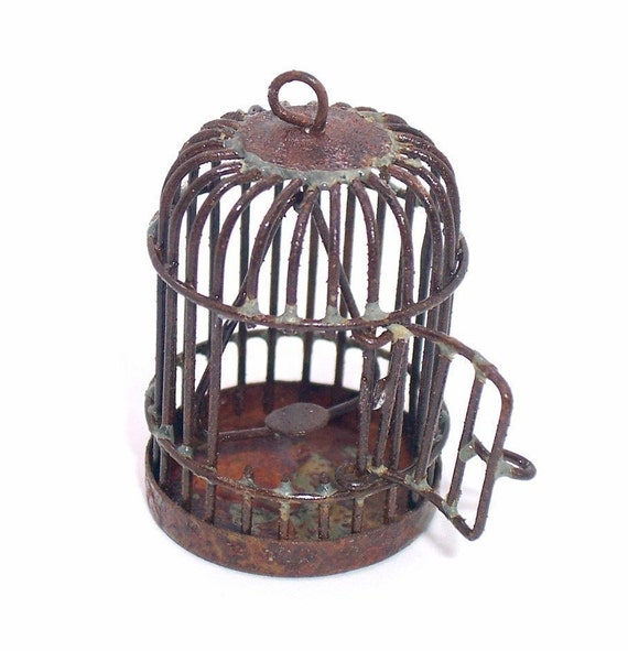 Rusty  Birdcage pendant charm 1pc .... metal .. shop closing sale