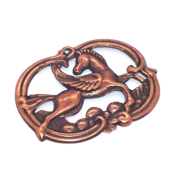 PEGASUS copper PENDANT Charms or Stampings 4pc
