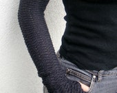Arm Warmers Pure Merino Zigzac Style Dark Gray Fingerless Gloves Charcoal Mittens - deliriumkredens