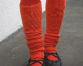 Orange Leg Warmers Fresh Carrot Shade Pure Merino Legwear Spats Yoga Socks Guetres Jambieres en Laine Stulpen