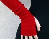 Red Arm Warmers Bracelets fingerless gloves mittens mitaines merino blend wrist warmers Women's Fingerless Gloves Warmers mother's day gift