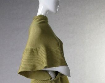 Shawl Merino Wool Wrap Light Olive Green Woolen Wrap Chale en Laine Schal Capelet Scarf Poncho
