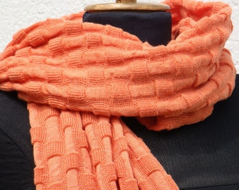 Orange Shawl Chale Chess Check Wrap Knitted pure merino Schal Echarpe