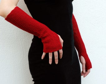 Arm Warmers Mittens Fingerless Gloves Dark Deep RED Shade Pure Merino Perfect Gift