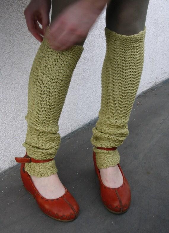 Olive green zigzacs Leg Warmers Boho Legwear Yoga socks