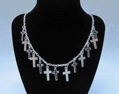 13 SILVER CROSSES Necklace