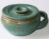 Turquoise Shaving Mug with Lid
