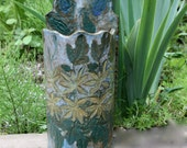 Stoneware Wall Vase Planter  Lace Embossed with Leaves and Flowers