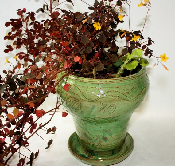 Ceramic  Planter in Spring Green With Carved Decoration