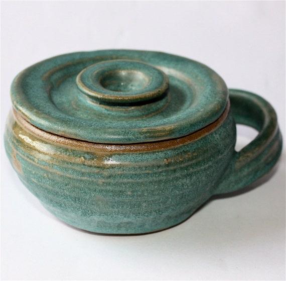 Turquoise Shaving Mug with Lid