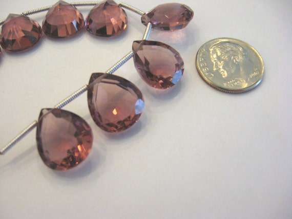 Reserved For L Sale - Luxe AAA Pink Kunzite Quartz -  2 Matching Pair - Concave - Heart Shape - Earring Pair