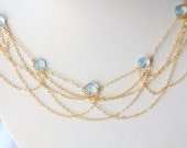 Blue Topaz Necklace, Layered Chain Necklace