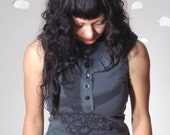 Upcycled tank embellished ruffle top grey raven crow print small VICTORIAN POE
