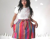 Soft revamped vintage skirt colorful striped cotton medium MELTED POPSICLES