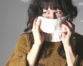 Eco-friendly cowl scarf upcycled vintage sweater white CUDDLE BUG