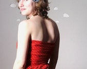 Eco friendly dress red strapless polka dot with pocket small RIPE TOMATO
