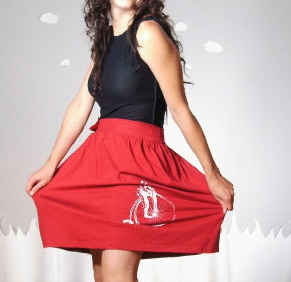 I HEART BIKES eco friendly gathered cotton skirt L