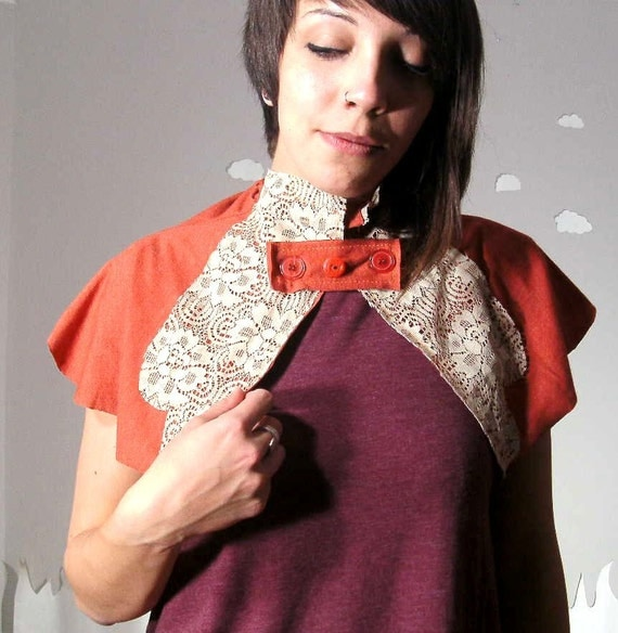 SALE Romantic capelet recycled fabric shrug in coral Falling For You