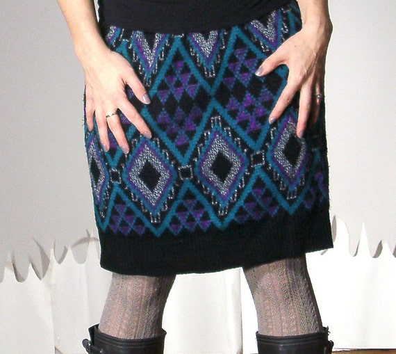 Handmade sweater skirt multi plaid print cozy warm medium COSBY SKIRT