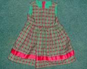 Reserved for Lorrie Harmon ONLY-Christmas Plaid gathered waist dress with ribbon trim - size 3- clearance