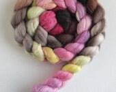 Merino/ Silk Roving (Top) - Handpainted Spinning or Felting Fiber, Tulip Tree