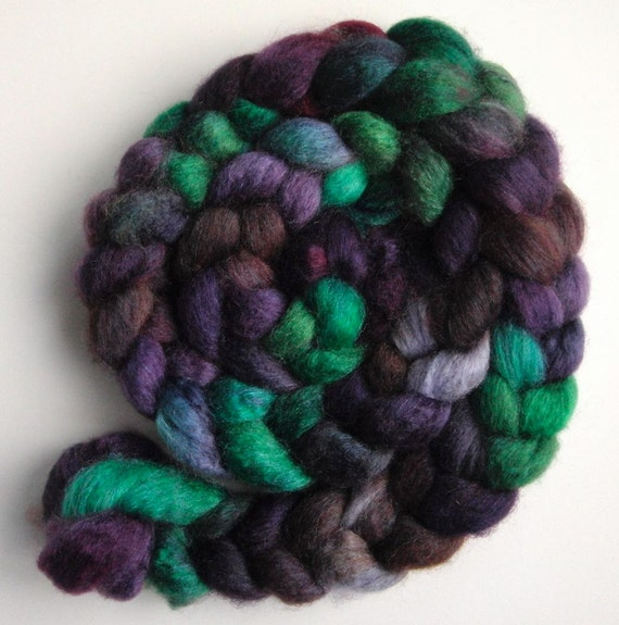 "Silk/ Blueface Leicester Roving (Top) - Handpainted Spinning or Felting Fiber, ""Violets"""