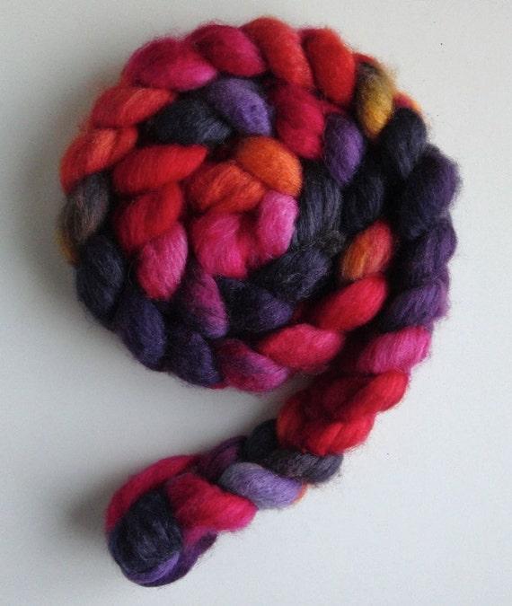 "BFL Wool/ Silk Top (Roving) - Handpainted Spinning or Felting Fiber, ""Bangladesh,"" Lynne Vogel"
