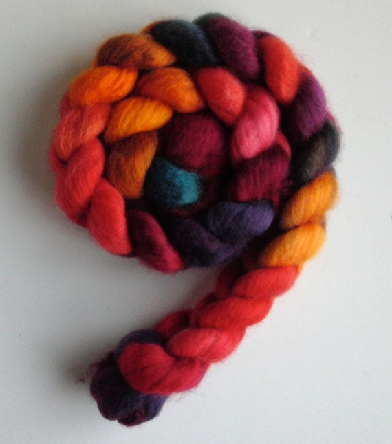 "BFL Wool Top (Roving) - Handpainted Spinning or Felting Fiber, ""Cinco de Mayo"""