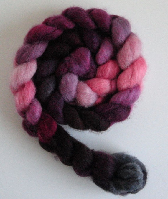 BFL Roving (Top) - Handpainted Spinning or Felting Fiber, Orchid Waxing Crescent