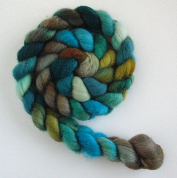 Polworth/ Silk Roving (Top) - Handpainted Spinning or Felting Fiber, Michaux
