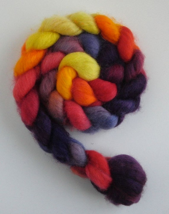 BFL Wool Roving (Top) - Handpainted Spinning or Felting Fiber, Ode to Zinnias