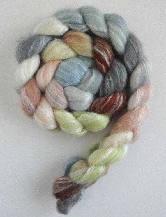 Merino/ Bamboo/ Silk Roving (Top) - Handpainted Spinning or Felting Fiber, Spring Morning 2