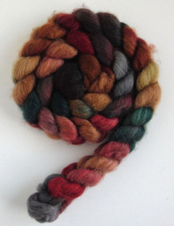 BFL/Silk  Wool Roving  - Hand Painted Spinning or Felting Fiber, Maybela's Promise