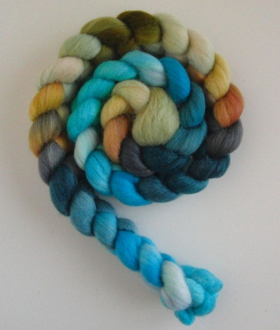 Polwarth/Silk Roving (Top) - Handpainted Spinning or Felting Fiber, Spring Morning 7