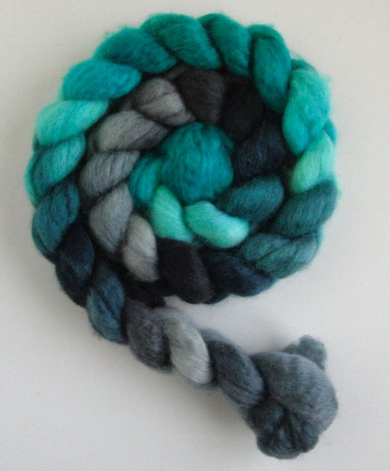 BFL Wool Top (Roving) - Handpainted Spinning or Felting Fiber, Aqua Moon