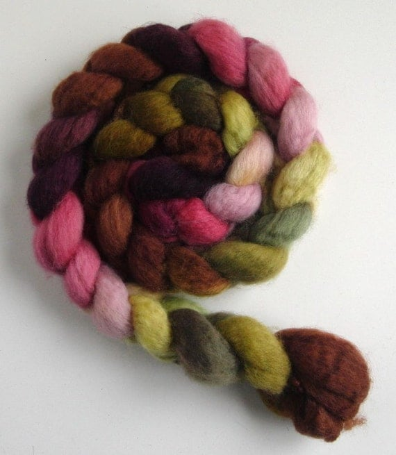 BFL Wool Top (Roving) - Handpainted Spinning or Felting Fiber, First Bloom