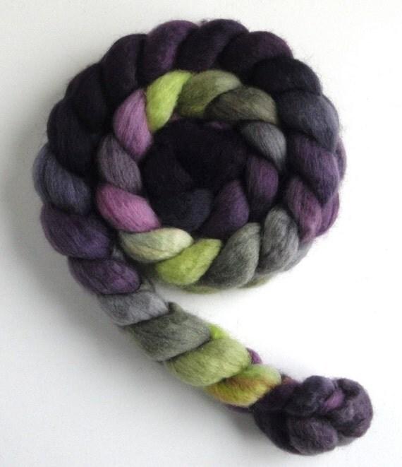 BFL Wool Top (Roving) - Handpainted Spinning or Felting Fiber, Black Pansies