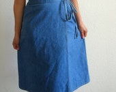 vintage 70s LEVIS Soft Denim Wrap Skirt
