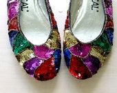 1980s SEQUIN Flats // COLOR BLOCK // Beaded Shoes