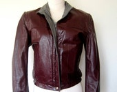 1980s LEATHER Jacket // Cropped Deep Burgundy Jacket (xs)